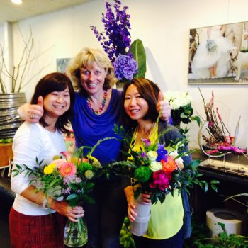 Training students first handtied bouquet