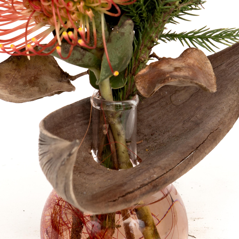 bolglaasje met palmblad detail